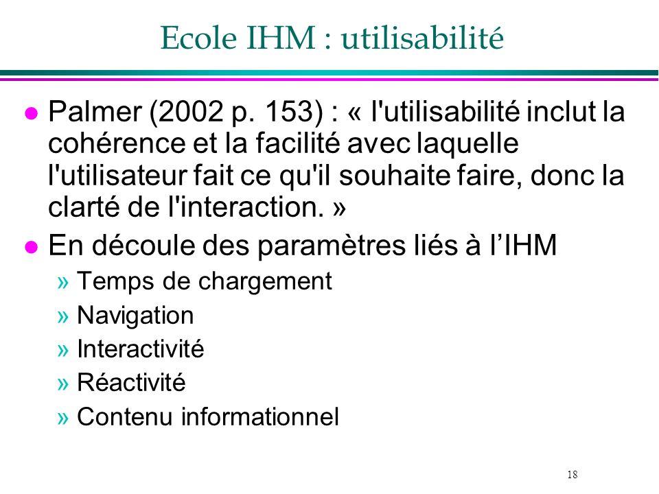 18 Ecole IHM : utilisabilité l Palmer (2002 p. 153) : « l'utilisabilité inclut la cohérence et la facilité avec laquelle l'utilisateur fait ce qu'il s