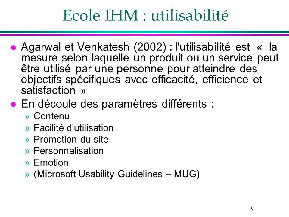 19 l Agarwal et Venkatesh (2002) : l'utilisabilité est « la mesure selon laquelle un produit ou un service peut être utilisé par une personne pour att