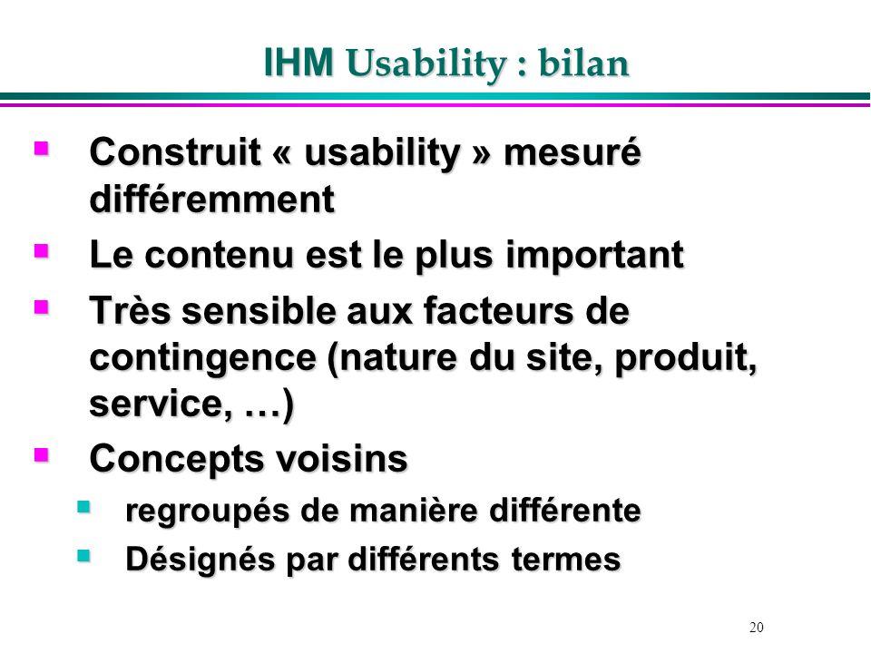 20 IHM Usability : bilan Construit « usability » mesuré différemment Construit « usability » mesuré différemment Le contenu est le plus important Le c