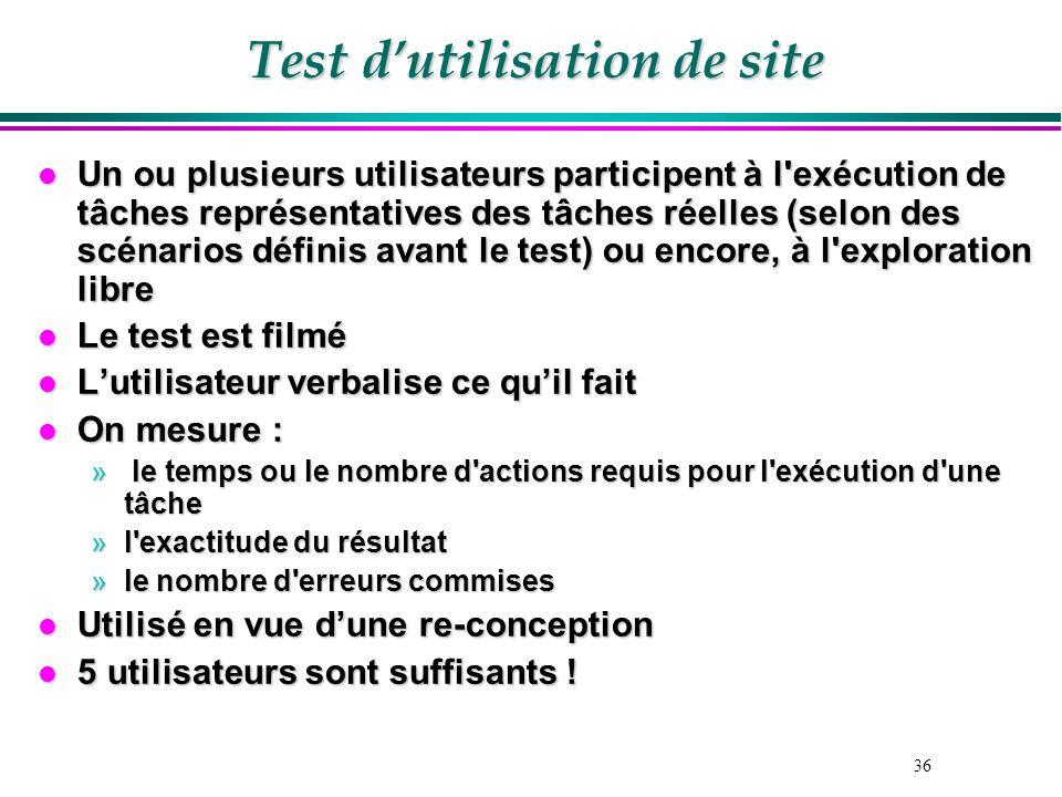 36 Test dutilisation de site l Un ou plusieurs utilisateurs participent à l'exécution de tâches représentatives des tâches réelles (selon des scénario