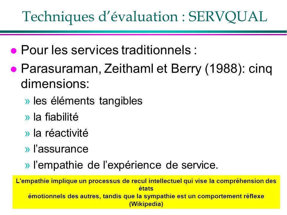 37 Techniques dévaluation : SERVQUAL l Pour les services traditionnels : l Parasuraman, Zeithaml et Berry (1988): cinq dimensions: »les éléments tangi