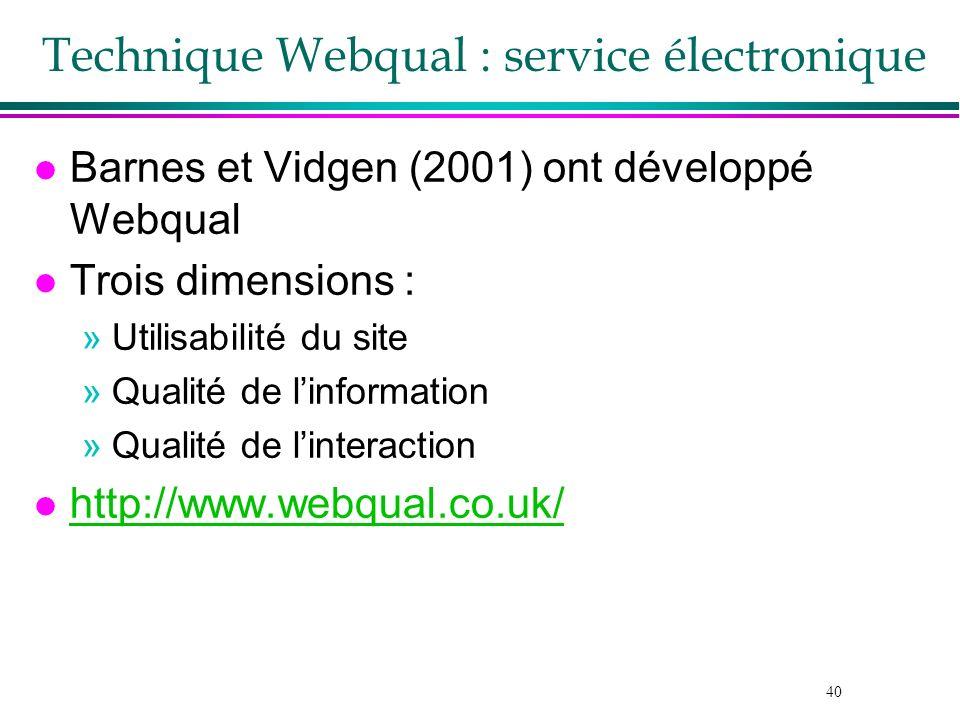 40 Technique Webqual : service électronique l Barnes et Vidgen (2001) ont développé Webqual l Trois dimensions : »Utilisabilité du site »Qualité de li
