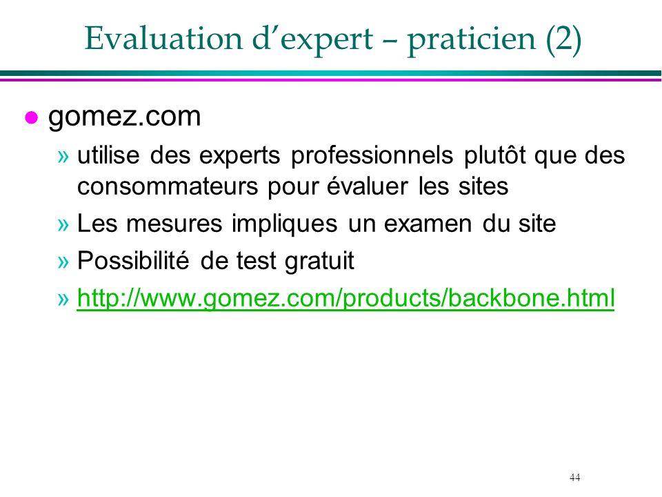 44 Evaluation dexpert – praticien (2) l gomez.com »utilise des experts professionnels plutôt que des consommateurs pour évaluer les sites »Les mesures