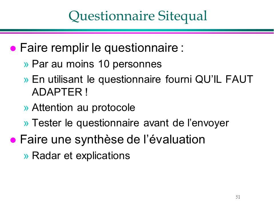 51 Questionnaire Sitequal l Faire remplir le questionnaire : »Par au moins 10 personnes »En utilisant le questionnaire fourni QUIL FAUT ADAPTER ! »Att