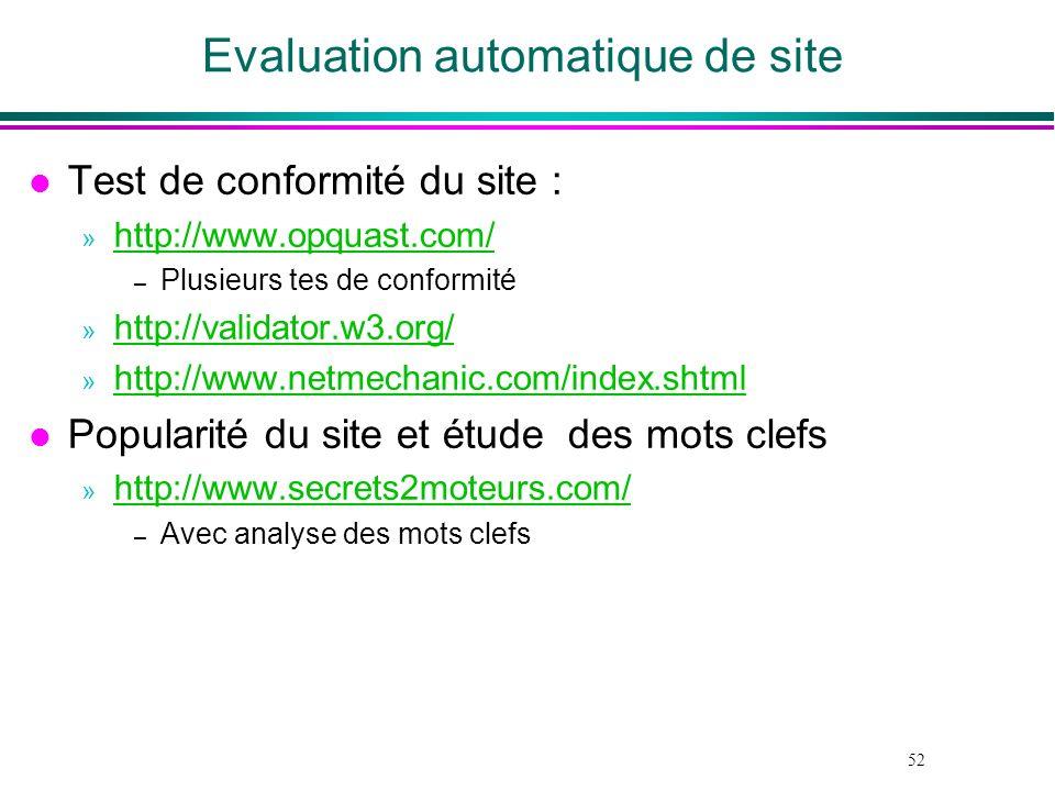 52 Evaluation automatique de site l Test de conformité du site : » http://www.opquast.com/ http://www.opquast.com/ – Plusieurs tes de conformité » htt