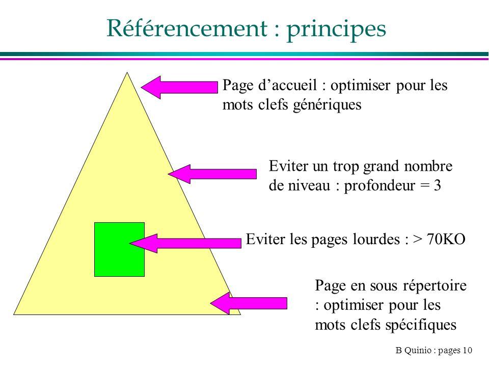 B Quinio : pages 10 Référencement : principes Page daccueil : optimiser pour les mots clefs génériques Page en sous répertoire : optimiser pour les mots clefs spécifiques Eviter un trop grand nombre de niveau : profondeur = 3 Eviter les pages lourdes : > 70KO