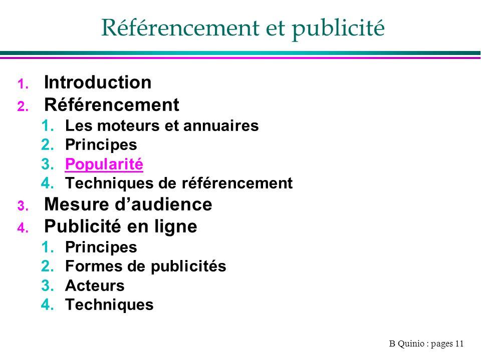 B Quinio : pages 11 Référencement et publicité 1. Introduction 2.