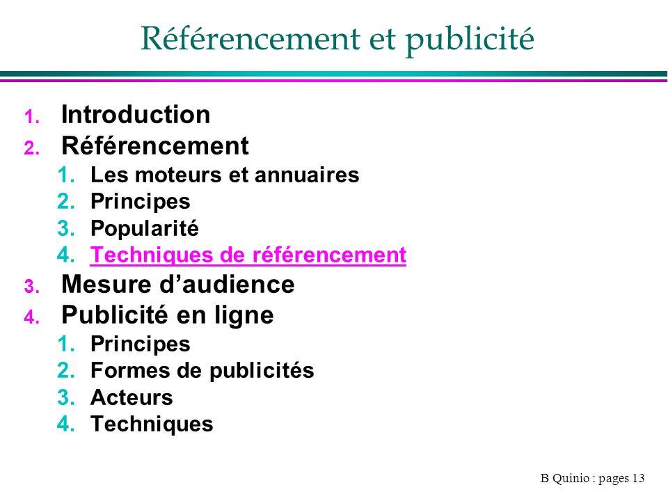 B Quinio : pages 13 Référencement et publicité 1. Introduction 2.