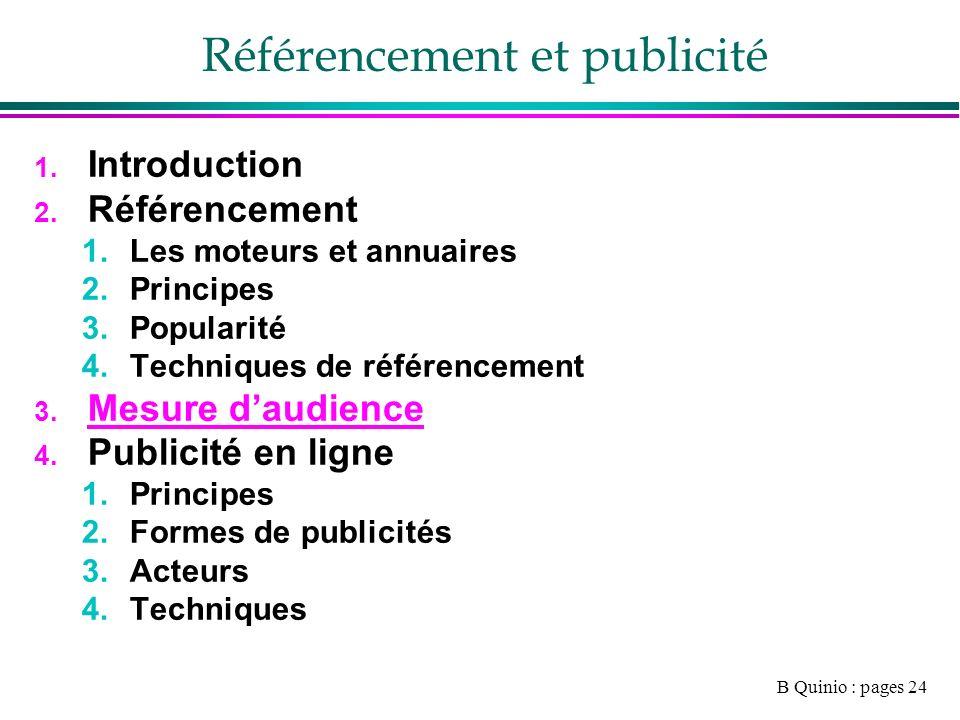 B Quinio : pages 24 Référencement et publicité 1. Introduction 2.