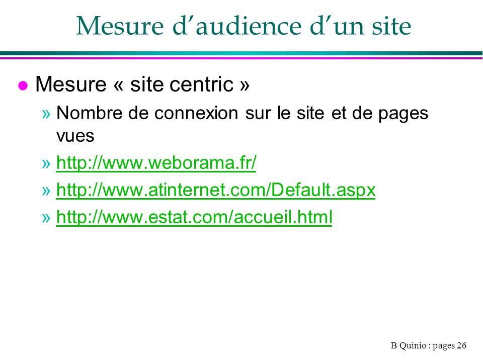 B Quinio : pages 26 Mesure daudience dun site l Mesure « site centric » »Nombre de connexion sur le site et de pages vues »http://www.weborama.fr/http://www.weborama.fr/ »http://www.atinternet.com/Default.aspxhttp://www.atinternet.com/Default.aspx »http://www.estat.com/accueil.htmlhttp://www.estat.com/accueil.html