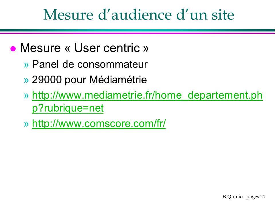 B Quinio : pages 27 Mesure daudience dun site l Mesure « User centric » »Panel de consommateur »29000 pour Médiamétrie »http://www.mediametrie.fr/home_departement.ph p rubrique=nethttp://www.mediametrie.fr/home_departement.ph p rubrique=net »http://www.comscore.com/fr/http://www.comscore.com/fr/