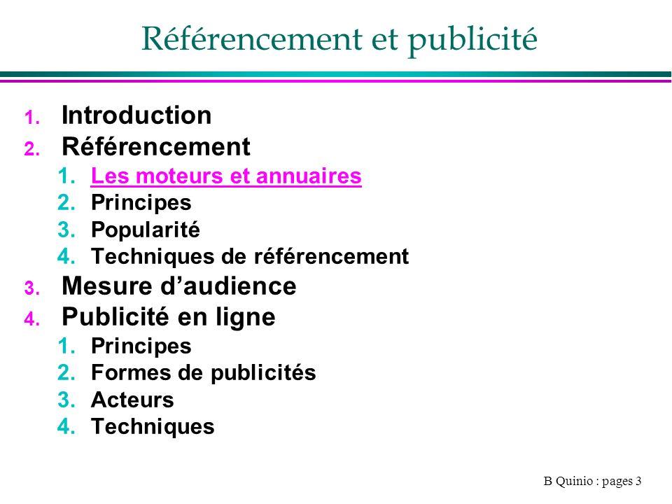 B Quinio : pages 3 Référencement et publicité 1. Introduction 2.