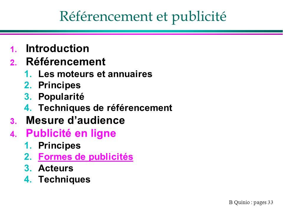 B Quinio : pages 33 Référencement et publicité 1. Introduction 2.