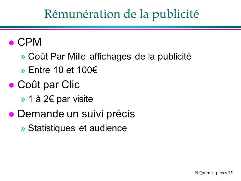 B Quinio : pages 35 Rémunération de la publicité l CPM »Coût Par Mille affichages de la publicité »Entre 10 et 100 l Coût par Clic »1 à 2 par visite l Demande un suivi précis »Statistiques et audience