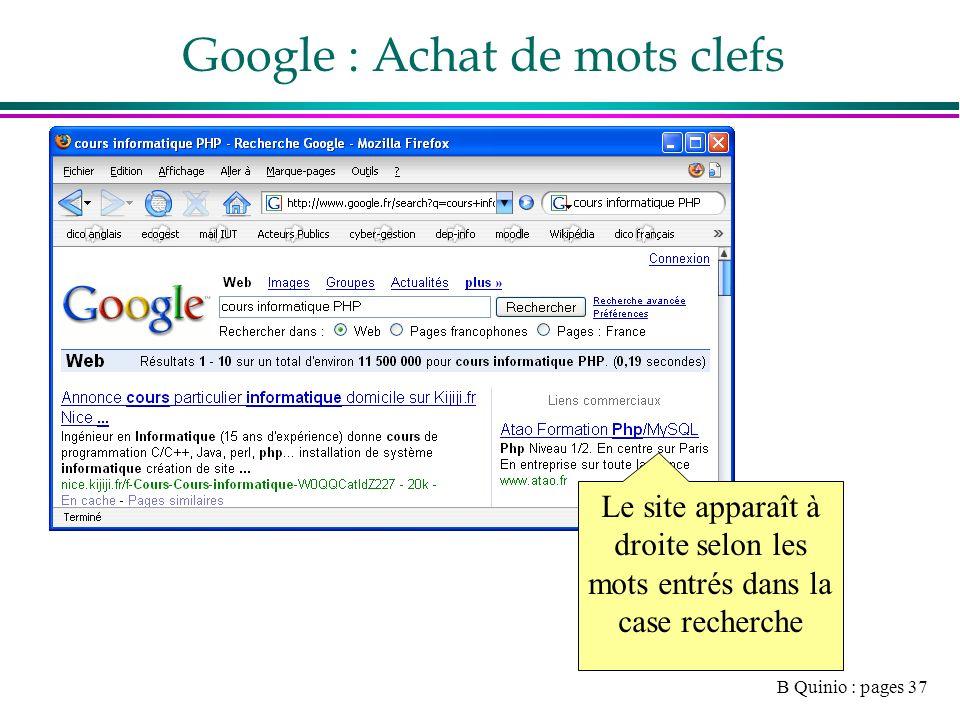 B Quinio : pages 37 Google : Achat de mots clefs Le site apparaît à droite selon les mots entrés dans la case recherche