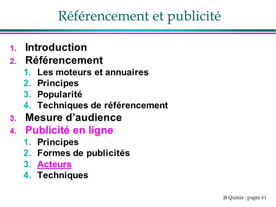 B Quinio : pages 41 Référencement et publicité 1. Introduction 2.