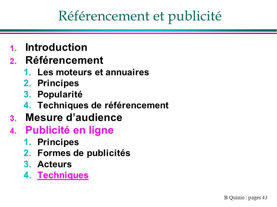 B Quinio : pages 43 Référencement et publicité 1. Introduction 2.