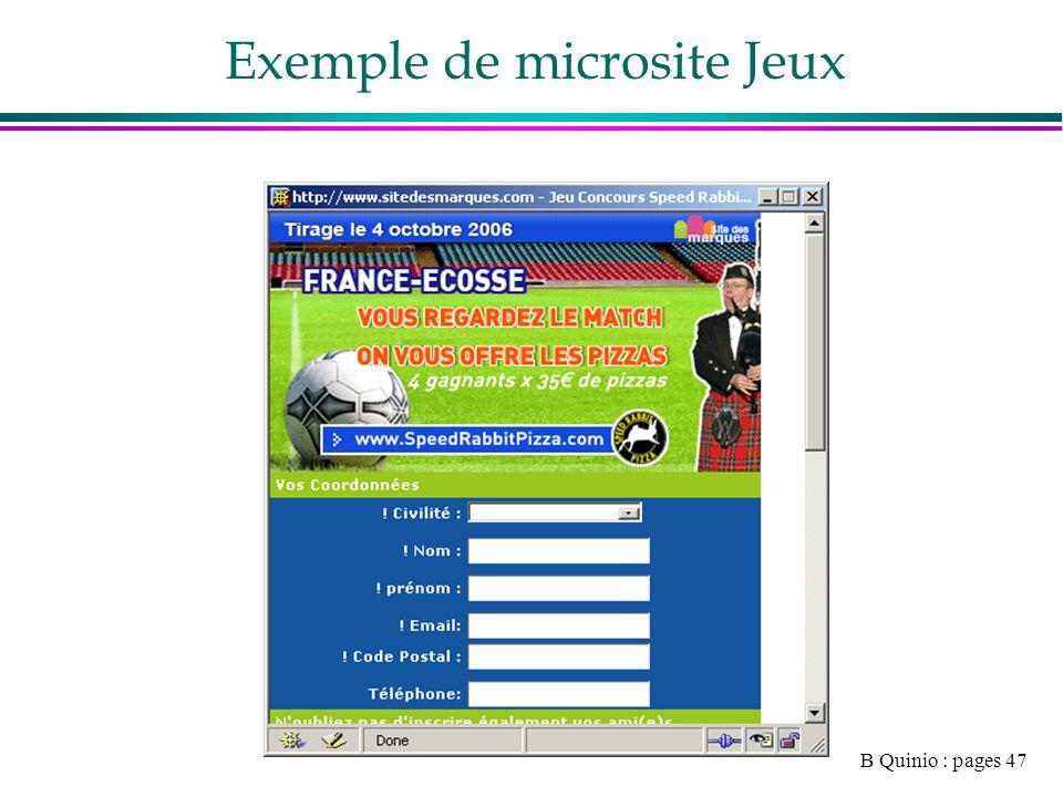 B Quinio : pages 47 Exemple de microsite Jeux
