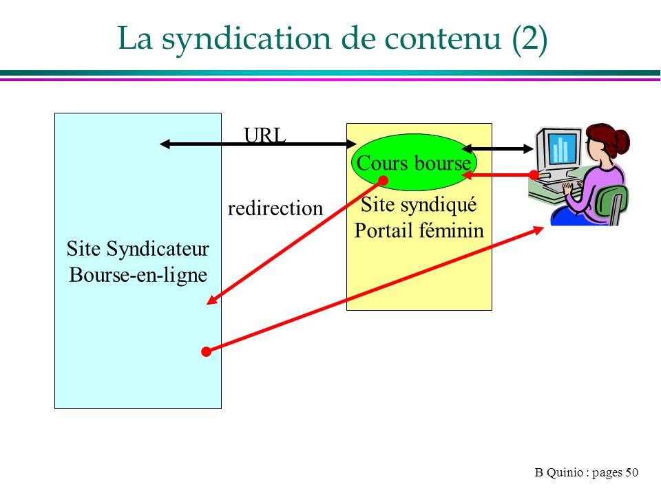 B Quinio : pages 50 La syndication de contenu (2) Site syndiqué Portail féminin Cours bourse Site Syndicateur Bourse-en-ligne URL redirection