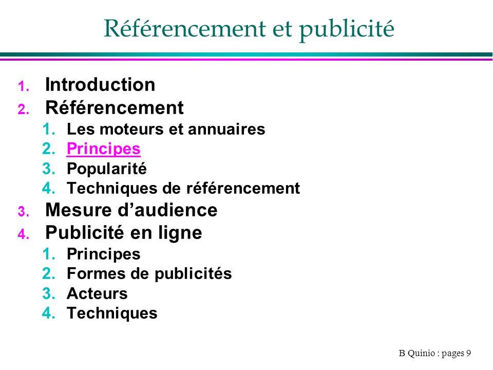 B Quinio : pages 9 Référencement et publicité 1. Introduction 2.