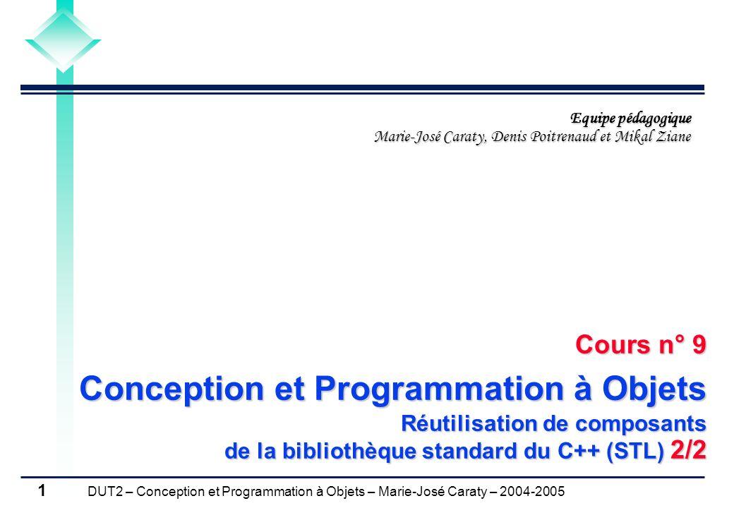 DUT2 – Conception et Programmation à Objets – Marie-José Caraty – 2004-2005 1 Cours n° 9 Conception et Programmation à Objets Réutilisation de composa