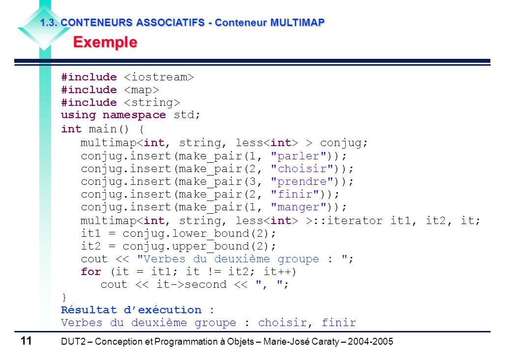 DUT2 – Conception et Programmation à Objets – Marie-José Caraty – 2004-2005 11 1.3. CONTENEURS ASSOCIATIFS - Conteneur MULTIMAP Exemple Exemple #inclu