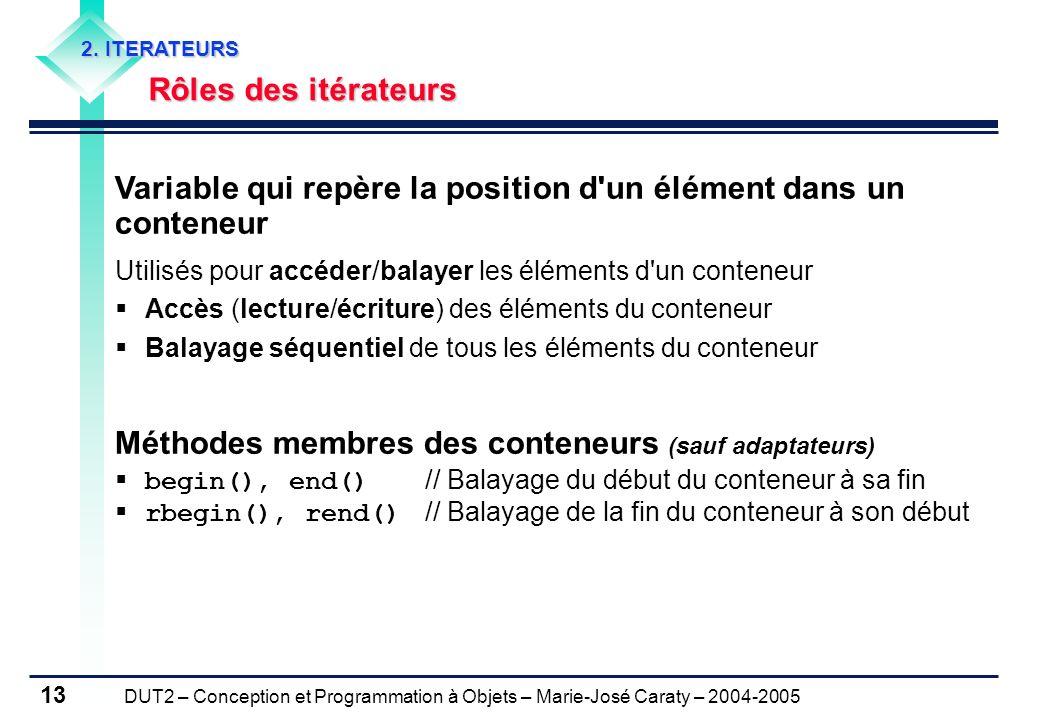 DUT2 – Conception et Programmation à Objets – Marie-José Caraty – 2004-2005 13 2. ITERATEURS Rôles des itérateurs Rôles des itérateurs Variable qui re