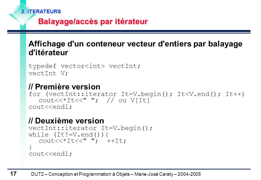 DUT2 – Conception et Programmation à Objets – Marie-José Caraty – 2004-2005 17 2. ITERATEURS Balayage/accès par itérateur Balayage/accès par itérateur