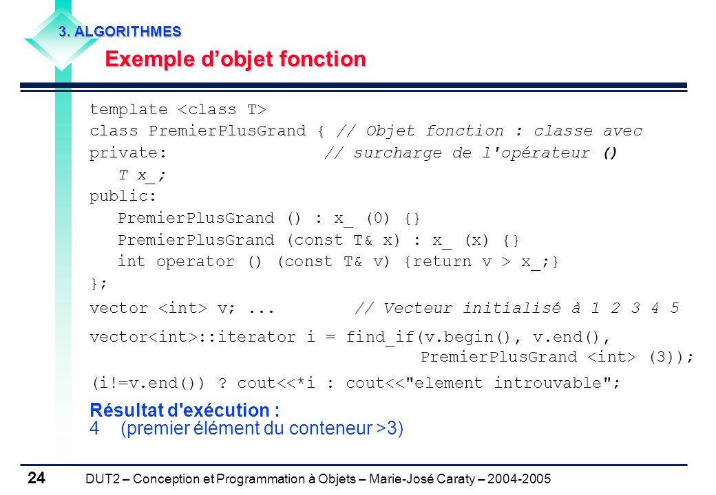 DUT2 – Conception et Programmation à Objets – Marie-José Caraty – 2004-2005 24 template class PremierPlusGrand { // Objet fonction : classe avec priva