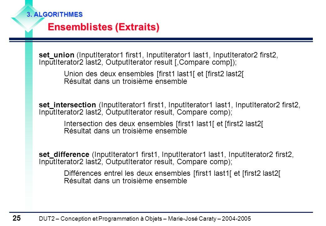DUT2 – Conception et Programmation à Objets – Marie-José Caraty – 2004-2005 25 3. ALGORITHMES Ensemblistes (Extraits) Ensemblistes (Extraits) set_unio