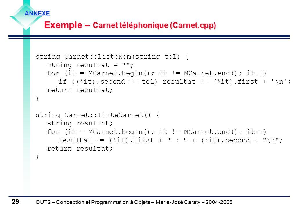 DUT2 – Conception et Programmation à Objets – Marie-José Caraty – 2004-2005 29 string Carnet::listeNom(string tel) { string resultat =