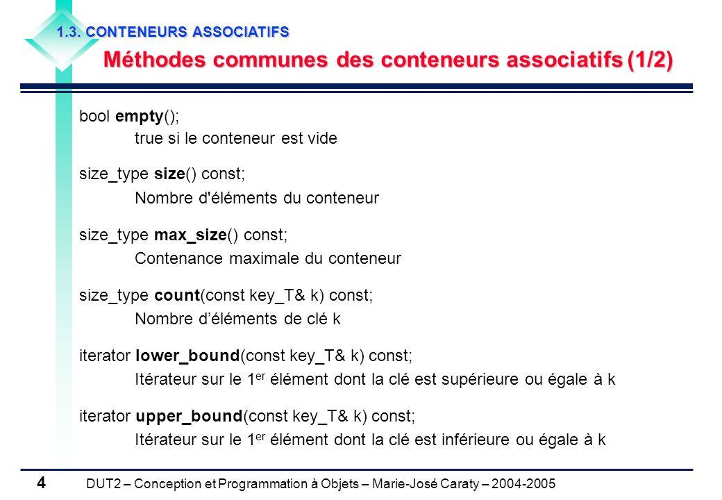 DUT2 – Conception et Programmation à Objets – Marie-José Caraty – 2004-2005 4 1.3. CONTENEURS ASSOCIATIFS Méthodes communes des conteneurs associatifs