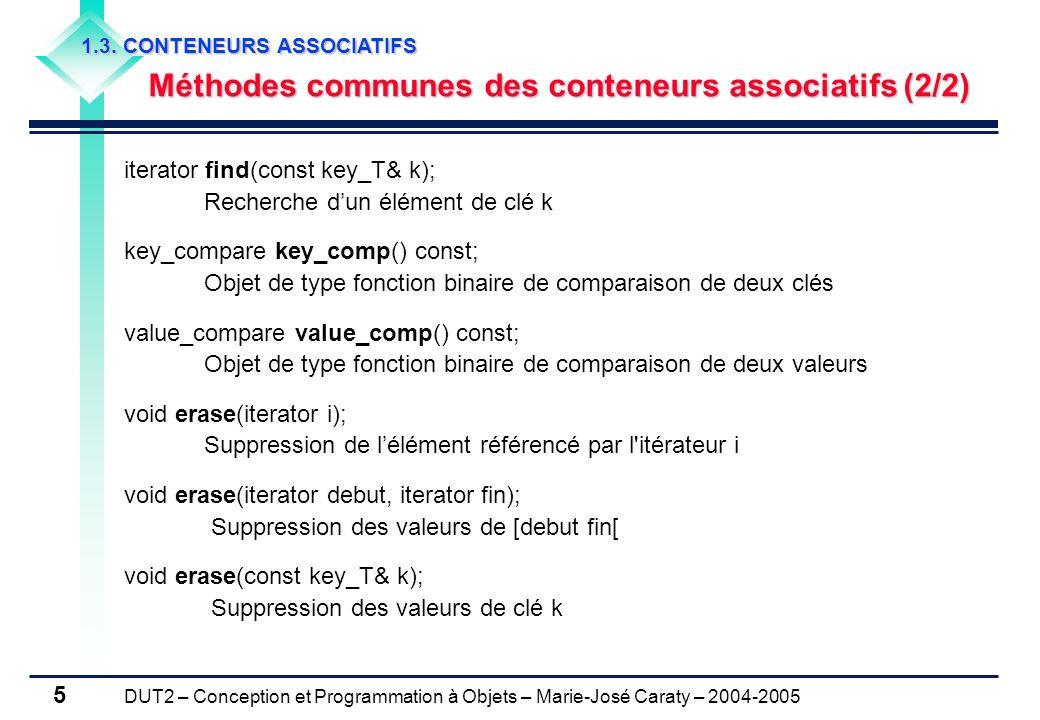 DUT2 – Conception et Programmation à Objets – Marie-José Caraty – 2004-2005 5 iterator find(const key_T& k); Recherche dun élément de clé k key_compar