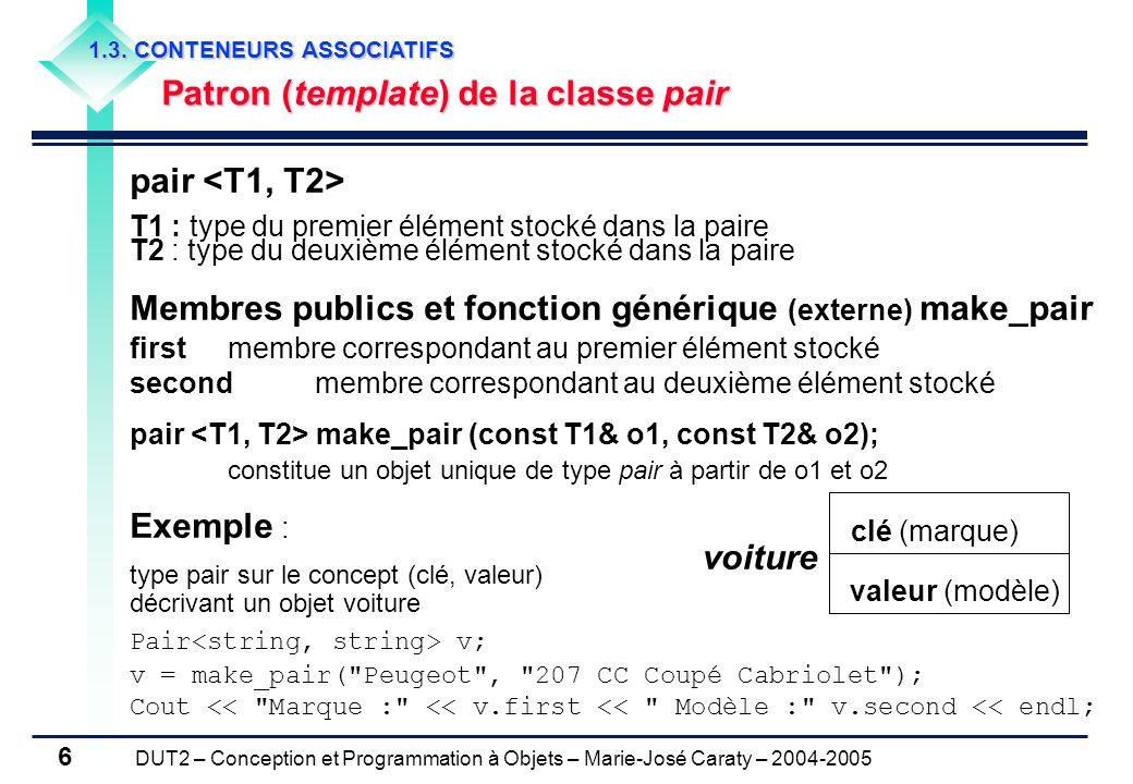 DUT2 – Conception et Programmation à Objets – Marie-José Caraty – 2004-2005 6 pair T1 : type du premier élément stocké dans la paire T2 : type du deux
