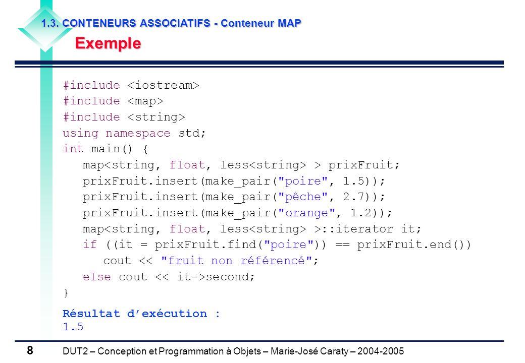 DUT2 – Conception et Programmation à Objets – Marie-José Caraty – 2004-2005 8 1.3. CONTENEURS ASSOCIATIFS - Conteneur MAP Exemple Exemple #include usi