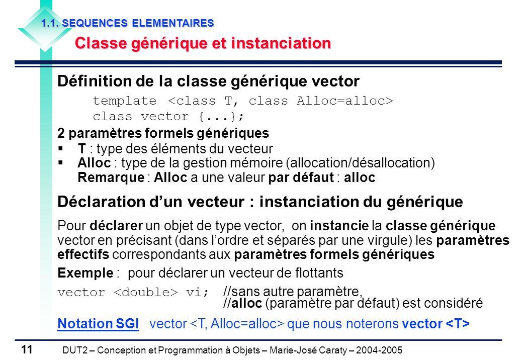 DUT2 – Conception et Programmation à Objets – Marie-José Caraty – 2004-2005 11 Définition de la classe générique vector template class vector {...}; 2