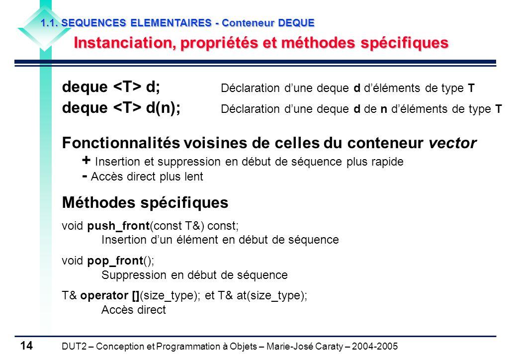 DUT2 – Conception et Programmation à Objets – Marie-José Caraty – 2004-2005 14 1.1. SEQUENCES ELEMENTAIRES - Conteneur DEQUE Instanciation, propriétés