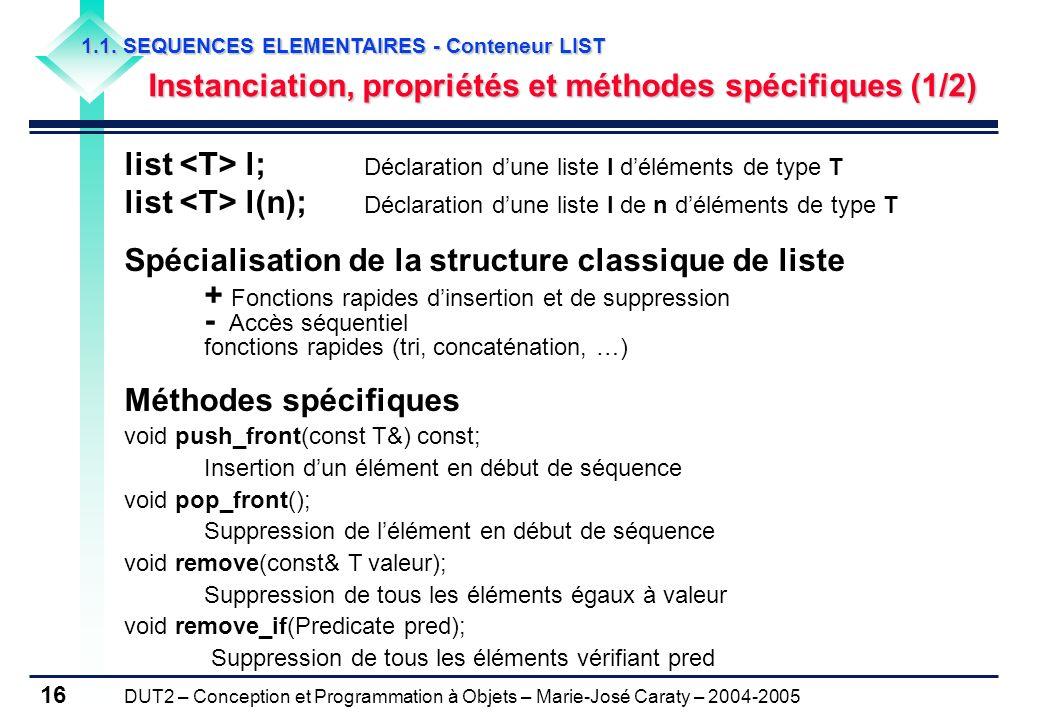 DUT2 – Conception et Programmation à Objets – Marie-José Caraty – 2004-2005 16 1.1. SEQUENCES ELEMENTAIRES - Conteneur LIST Instanciation, propriétés