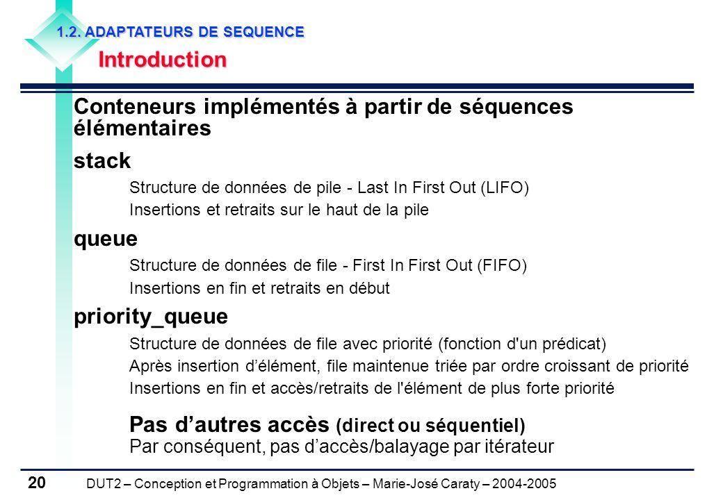 DUT2 – Conception et Programmation à Objets – Marie-José Caraty – 2004-2005 20 1.2. ADAPTATEURS DE SEQUENCE Introduction Conteneurs implémentés à part