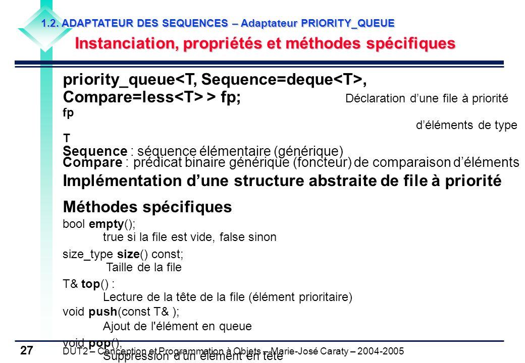DUT2 – Conception et Programmation à Objets – Marie-José Caraty – 2004-2005 27 1.2. ADAPTATEUR DES SEQUENCES – Adaptateur PRIORITY_QUEUE Instanciation