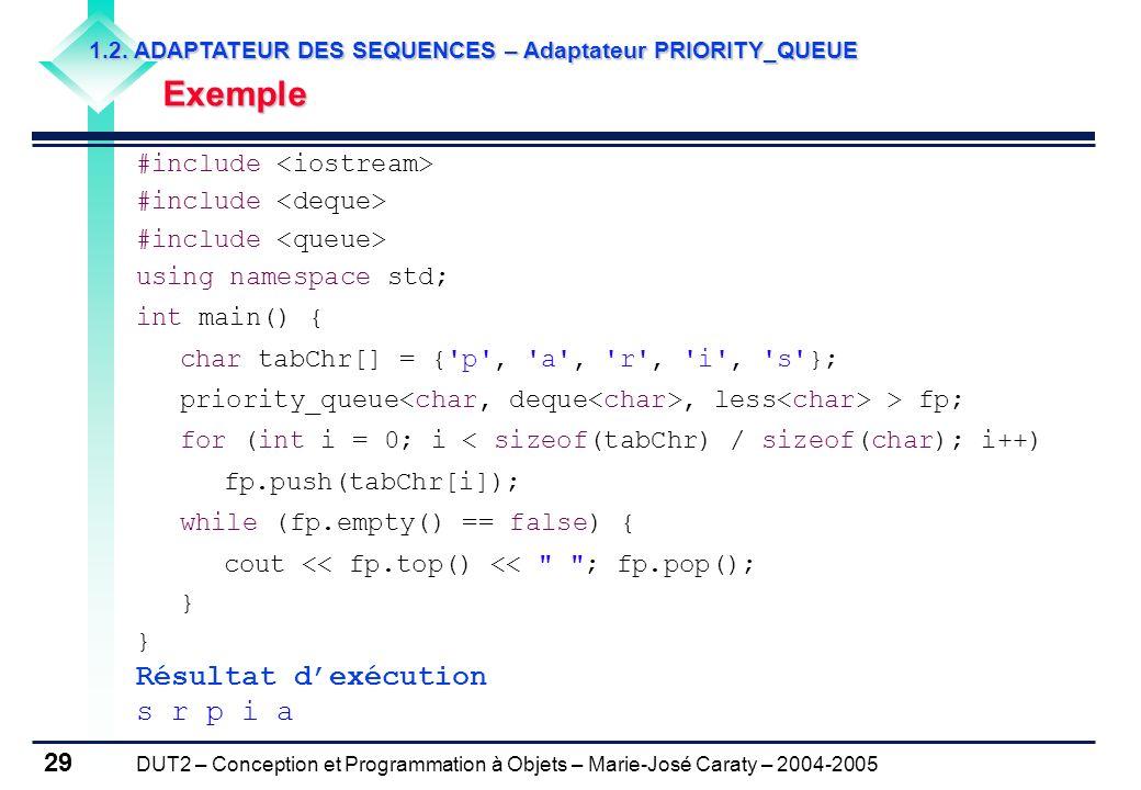 DUT2 – Conception et Programmation à Objets – Marie-José Caraty – 2004-2005 29 1.2. ADAPTATEUR DES SEQUENCES – Adaptateur PRIORITY_QUEUE Exemple Exemp