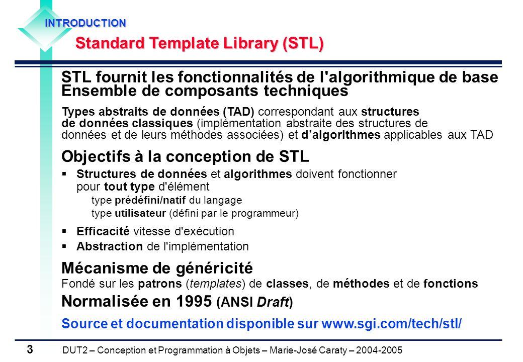 DUT2 – Conception et Programmation à Objets – Marie-José Caraty – 2004-2005 3 STL fournit les fonctionnalités de l'algorithmique de base Ensemble de c