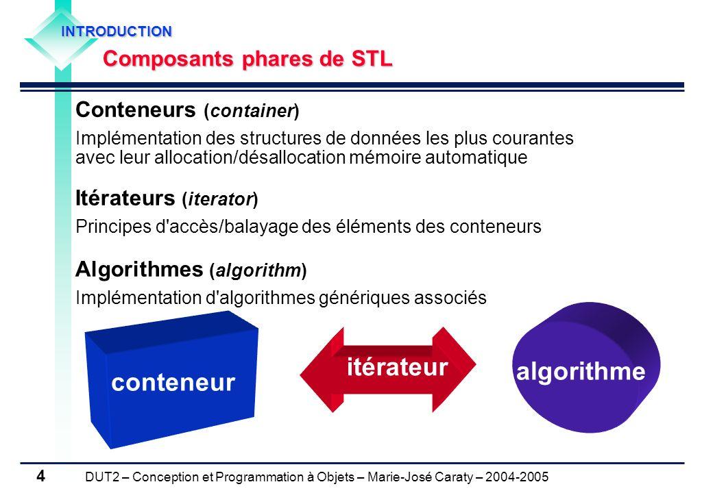 DUT2 – Conception et Programmation à Objets – Marie-José Caraty – 2004-2005 4 Conteneurs (container) Implémentation des structures de données les plus