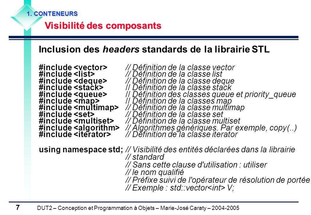 DUT2 – Conception et Programmation à Objets – Marie-José Caraty – 2004-2005 7 Inclusion des headers standards de la librairie STL #include // Définiti
