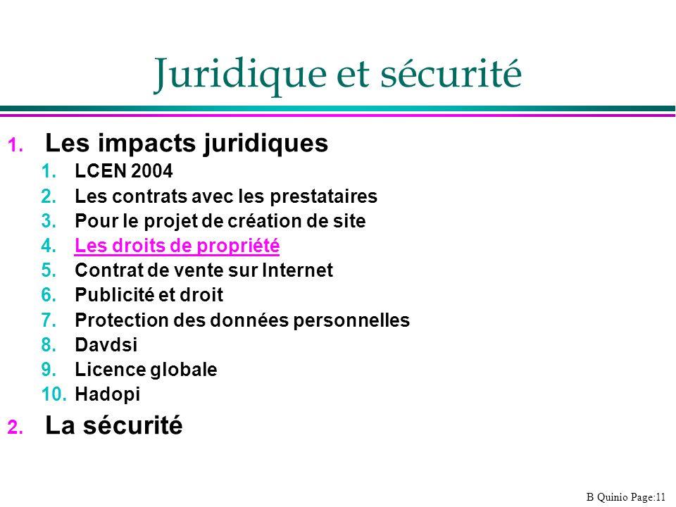 B Quinio Page:11 Juridique et sécurité 1. Les impacts juridiques 1.LCEN 2004 2.Les contrats avec les prestataires 3.Pour le projet de création de site