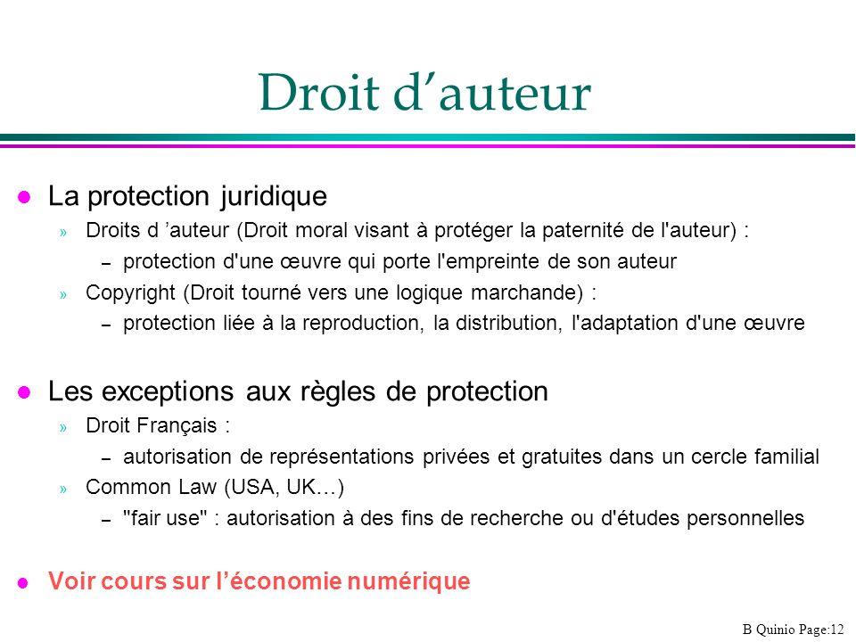 B Quinio Page:12 Droit dauteur l La protection juridique » Droits d auteur (Droit moral visant à protéger la paternité de l'auteur) : – protection d'u