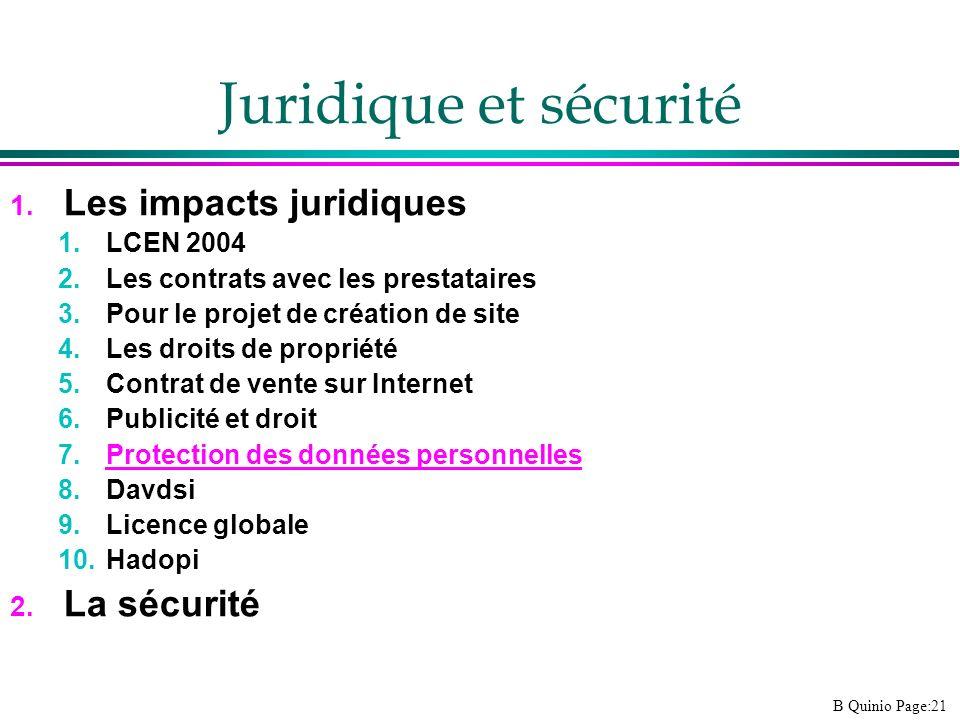 B Quinio Page:21 Juridique et sécurité 1. Les impacts juridiques 1.LCEN 2004 2.Les contrats avec les prestataires 3.Pour le projet de création de site