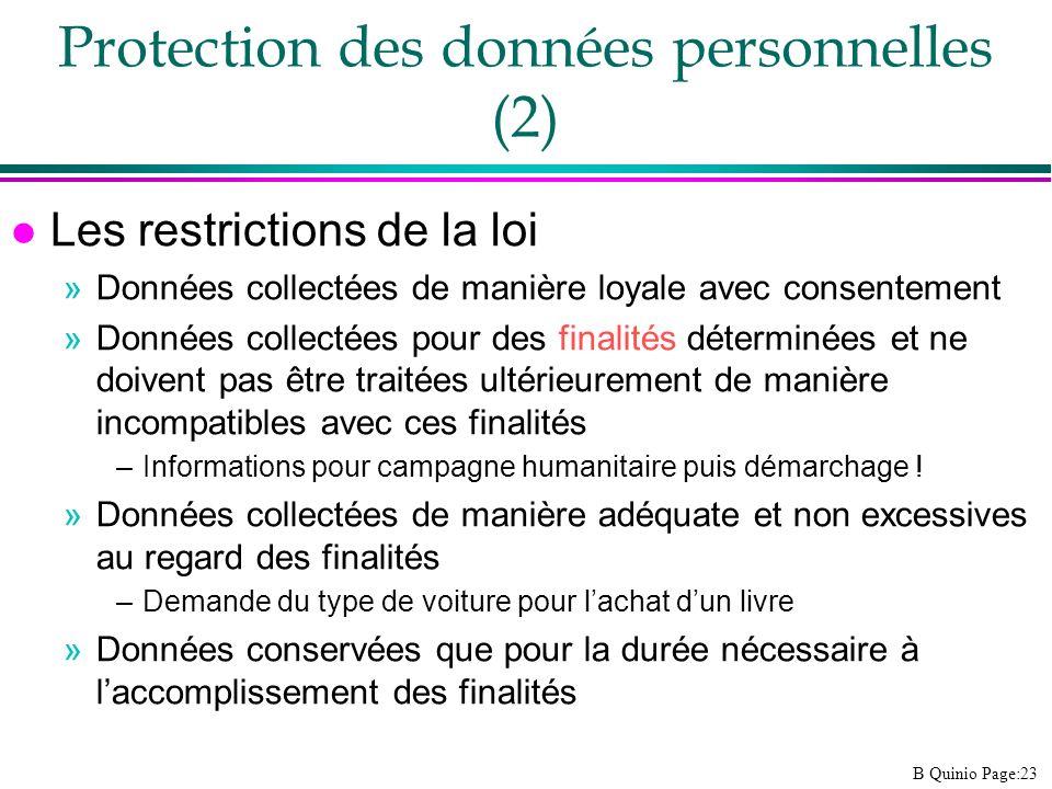 B Quinio Page:23 l Les restrictions de la loi »Données collectées de manière loyale avec consentement »Données collectées pour des finalités déterminé