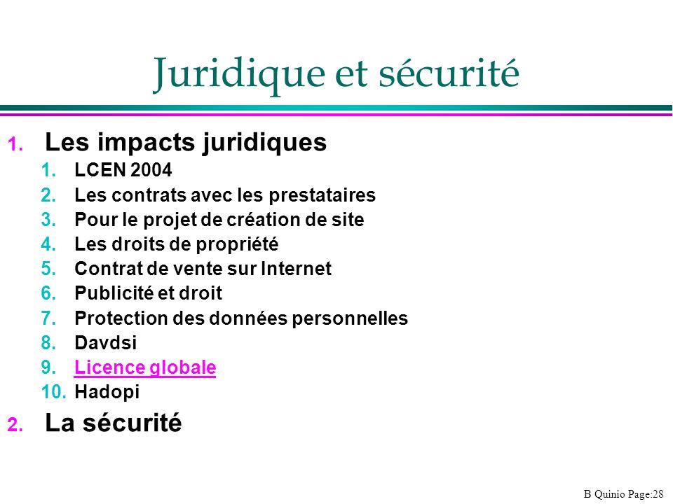 B Quinio Page:28 Juridique et sécurité 1. Les impacts juridiques 1.LCEN 2004 2.Les contrats avec les prestataires 3.Pour le projet de création de site