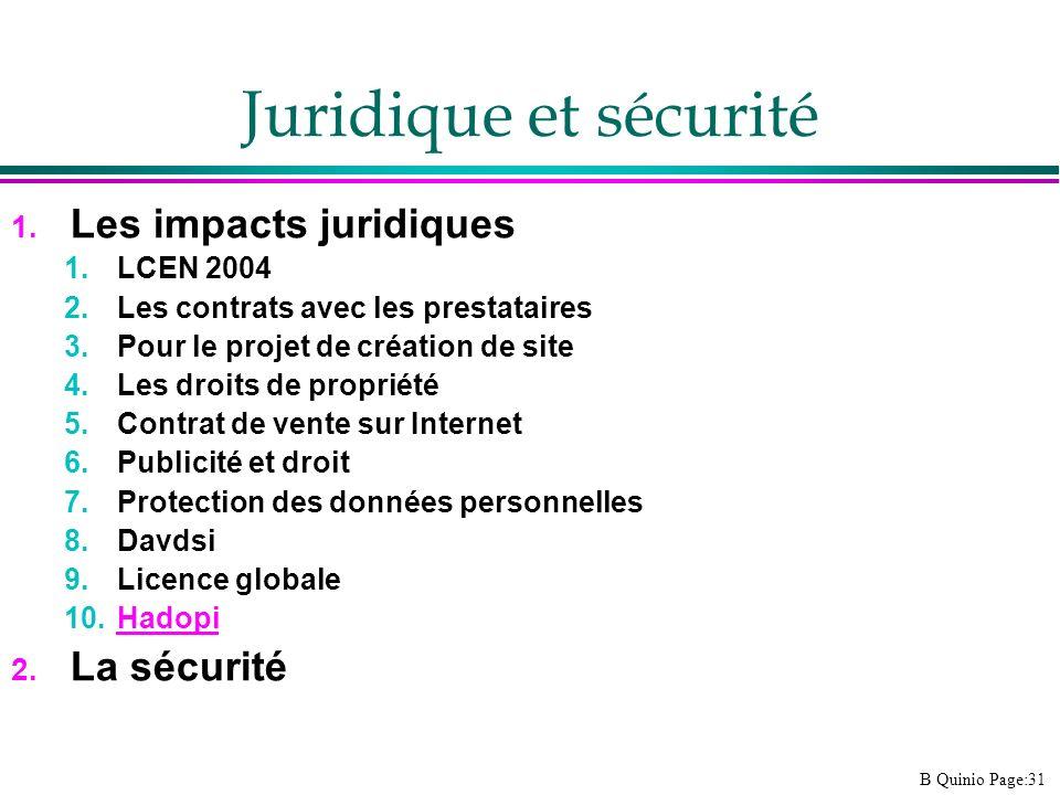 B Quinio Page:31 Juridique et sécurité 1. Les impacts juridiques 1.LCEN 2004 2.Les contrats avec les prestataires 3.Pour le projet de création de site